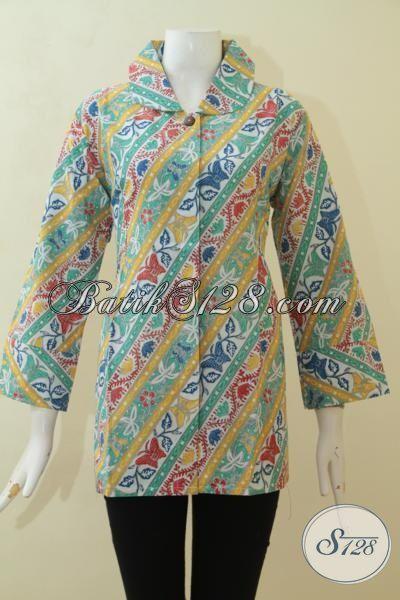 Wanita Tampil Keren Dengan Blus Batik Parang Modern, Baju Batik Desain Mewah Berpadu Warna Yang Bagus, Batik Kerja Masa Kini Proses Print Harga Murmer [BLS3103P-XL]