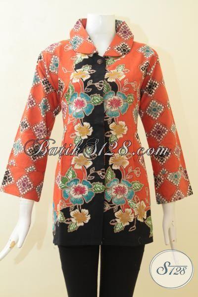 Baju Blus Orange Kombinasi Hitam, Batik Modern Motif Bunga Membuat Wanita Lebih Berwarna Dan Bersemangat [BLS3107CT-XL]