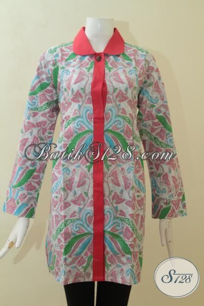 Baju Blus Batik Motif Terkini, Batik Santai Pas Buat Hangouts, Baju Blus Print Modern Desain Berkelas Harga Murmer [BLS3113P-XL , XXL]