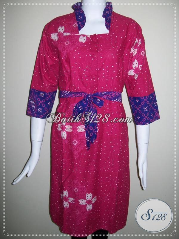 Baju Dress Batik Berkaret Belakang,Batik Untuk Wanita Pekerja Kantor Yang Fashionable [BLS311CT]