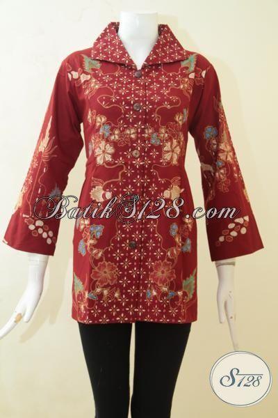 Batik Blus Istimewa Warna Merah Proses Tulis, Baju Kerja Bahan Batik Model Formal Membuat Wanita Terlihat Elegan, Size M