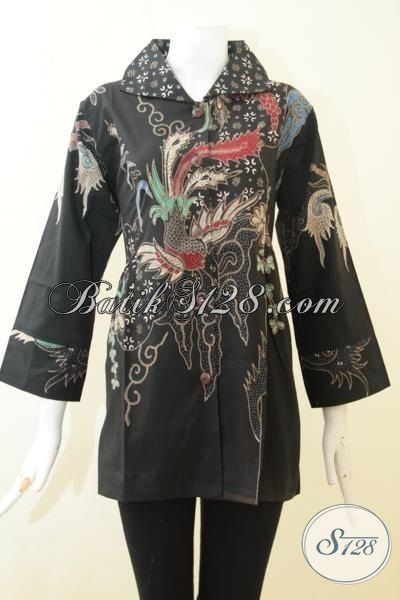 Jual Baju Batik Cantik Motif Modern, Blus Batik Tulis Stylist Lengan Tujuh Perdelapan Pas Buat Ke Kantor, Size L
