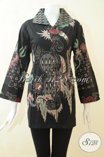 Batik Blus Hitam Model Terbaru, Pakaian Batik Tulis Buatan Solo Size L Pas Buat Seragam Kerja Wanita Karir Tampil Anggun