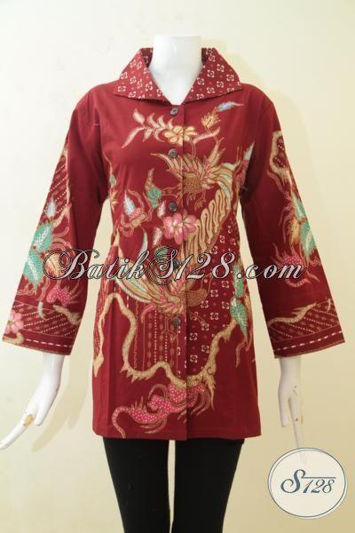 Pakaian Batik Warna Merah Keren Banget, Baju Batik Tulis Solo Halus Dan Adem, Baju Batik Desain Istimewa Pas Untuk Seragam Kerja [BLS3123T-L]