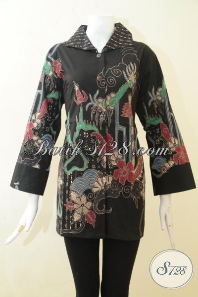 Blus Batik Keren Desain Kerah Lebar, Baju Batik Formal Warna Hitam Berpadu Motif Masa Kini Membuat Cewek Semakin Berkharisma, Size XL