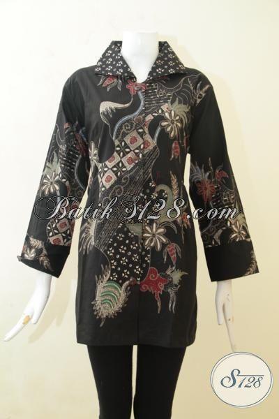 Blus Batik Cewek Dasar Hitam, Pakaian Batik Tulis Cantik Ukuran Besar Khusus Wanita Berbadan Gemuk, Batik Fashion Produk Solo [BLS3128T-XXL]