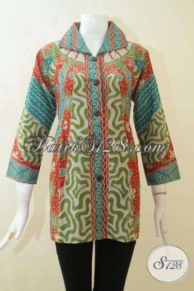 Batik Blus Klasik Untuk Wanita Muda, Pakaian Batik Desain Modern Kwalitas Halus Harga Murmer, Batik Print Solo Warna Keren Mempesona [BLS3129P-M]