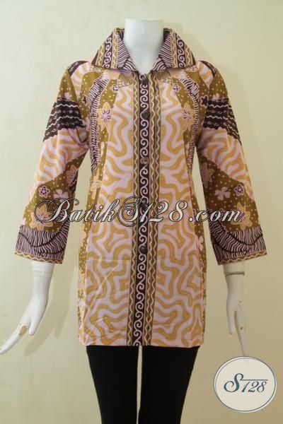 Jual Busana Batik Cewek Masa Kini, Butik Batik Solo Lengkap Dan Murah, Batik Kerja Formal Motif Klasik Proses Printing [BLS3133P-L]