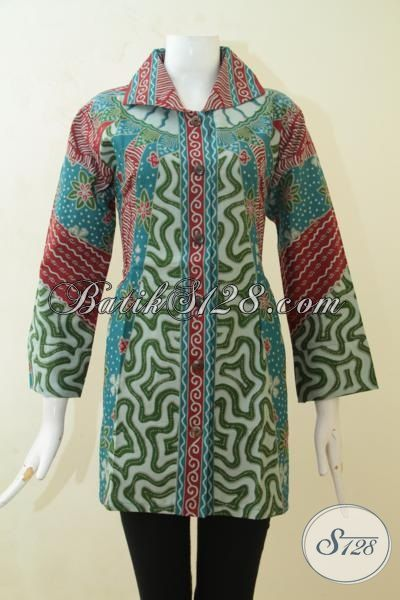 Trend Baku Blus Batik Desain 2015, Baju Batik Formal Pas Buat Acara Resmi, Batik Halus Proses Print Harga paling Murah, Tersedia Ukuran Jumbo [BLS3135P-XXL]