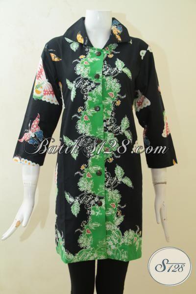 baju batik kombinasi warna hijau motif keren model baju