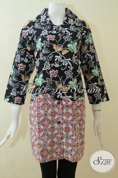 Blus Batik Dua Motif Desain Elegan, Baju Batik Lengan Tiga Perempat Porses Cap, Blus Batik Mewah Harga Murah Size M