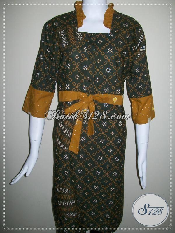 Baju Batik Wanita Lingkar Dada 100cm Lengan 3/4 Warna Kalem Soft Klasik