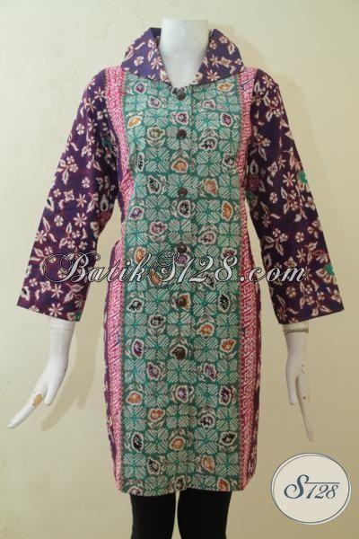 Baju Batik Cap Tulis Model Blus Trend 2015, Pakaian Batik Kerja Lengan Tiga Perempat Motif Kombinasi , Wanita Makin Cantik Bertubi-Tubi, Size XL