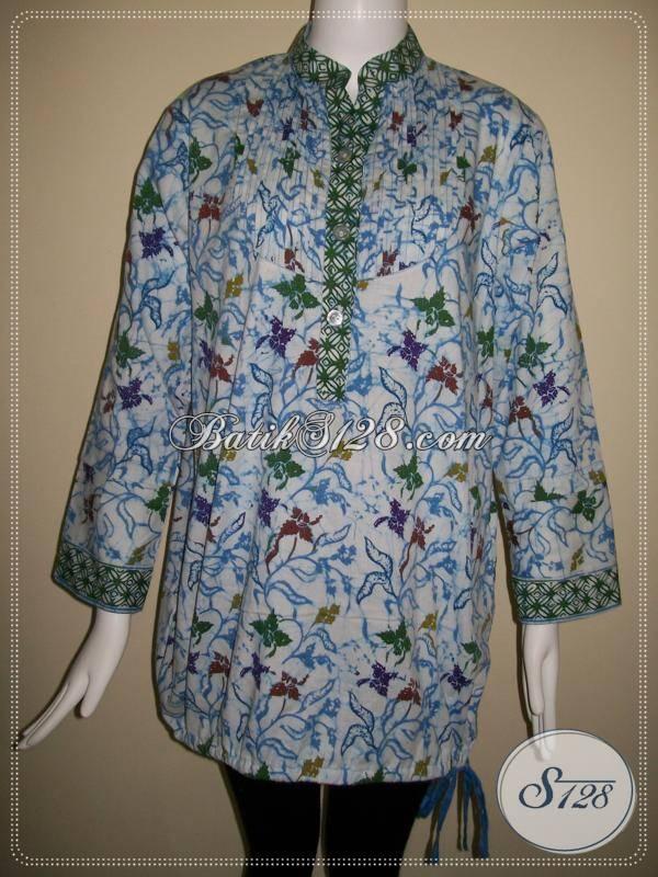 Blus Batik Wanita Kerah Shanghai Warna biru Dasar Putih Cocok Untuk Hijabers Wanita Berjilbab