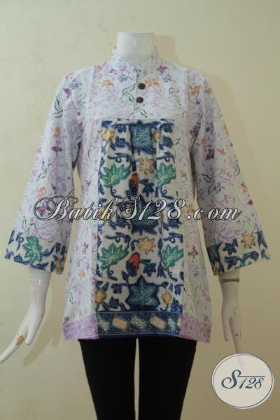 Baju Pesta Bahan Batik Motif Keren, Blus Batik Wanita Muda Desain Istimewa Cewek Terlihat Feminim, Size M