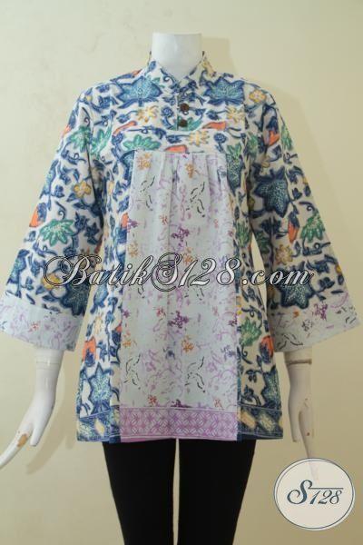 Baju Batik Blus Desain Unik Berbahan Kain Halus Proses Cap, Baju Batik Keren Cewek Tampil Modia Dan Cantik [BLS3179C-M]