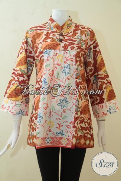 Blus Batik Baju Kerja Motif Klasik, Batik Cap Tulis  Moder Wanita Tampil Lebih Cantik Memikat [BLS3180C-M]