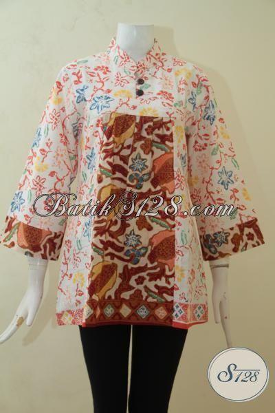 Blus Batik Cantik Desain Trendy Membuat Wanita Lebih Mempesona, Pakaian Batik Cap Kwalitas Halus Harga Terjangkau [BLS3181C-M]