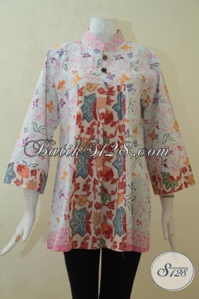 Batik Blus Warna Cerah, Pakaian Batik Desain Cantik Warna Cerah Membuat Perempuan Semakin Ceria, Batik Cap Halus Harga Murah [BLS3186C-XL]