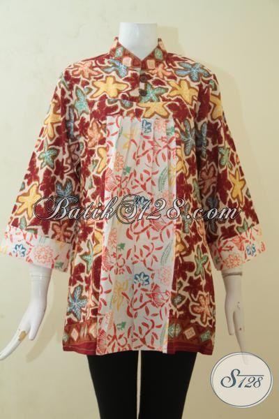 Blus Batik Halus Proses Cap, Batik Baju Trendy Motif Berkelas Buatan Solo Referensi Penampilan Wanita Cantik Jaman Sekarang [BLS3188C-XL]