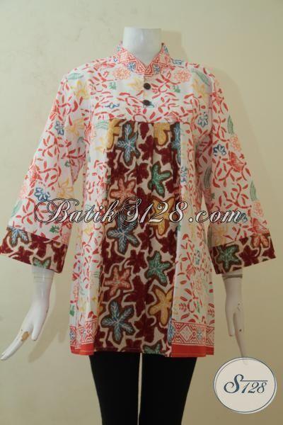 Blus Batik Paling Trendy, Batik Halus Produk Solo Dilengkap Dual Motif Yang Atraktif Dan Menarik, Batik Cap Istimewa Harga Terjangkau [BLS3189C-XL]