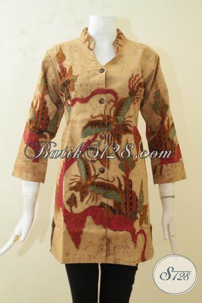 Baju Blus Batik Klasik Motif Kupu, Busana Batik Tulis Daleman Full Furing, Cewek Tampil Mewah Dan Elegan, Size M