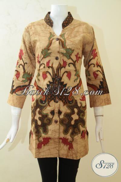 Baju Batik Blus Paling Laris, Busana Batik Trendy Model Terbaru Berbahan Batik Tulis Di Lengkapi Daleman Full Furing Nan Modis Pas Untuk Acara Formal, Size M