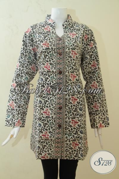 Baju Batik Blus Lengan Panjang Daleman Full Furing, Batik Trendy Buat Jalan-Jalan, Batik Cap Tulis Motif Unik Kwalitas Premium, Size XL