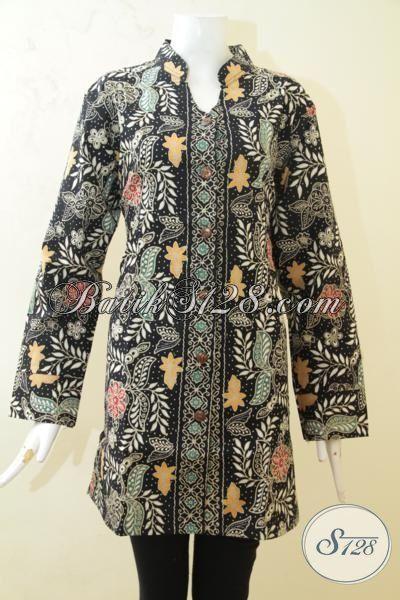 Batik Blus Lengan Panjang Motif Paling Trendy, Jual Online Blus Kerja Modis Pas Juga Untuk Perempuan Berhijab, Batik Cap Tulis Mewah Dengan Furing, Size XL
