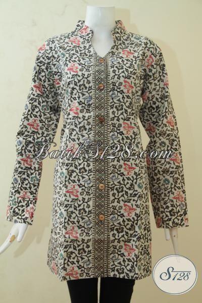 Pusat Batik Jawa Online Sedia Blus Batik Full Furing Lengan Panjang, Baju Batik Berkelas Motif Unik Proses Cap Tulis Kwalitas Premium, Size XL