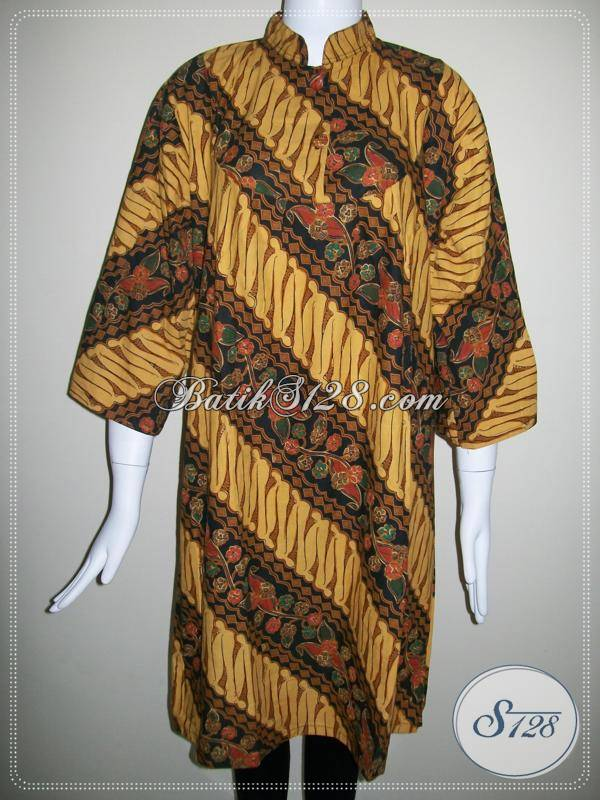 Blus Batik Kerah Shanghai Ukuran Besar Lingkar Dada LD 112cm, Motif Klasik Coklat