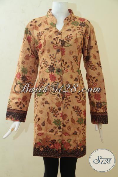 Blus Batik Kombinasi Tulis Modis Desain Terbaru 2015, Baju Batik Full Furing Motif Bunga Ukuran Jumbo Wanita Gemuk Terlihat Lebih Stylist [BLS3200BTF-XXL]
