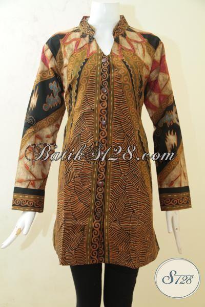 Blus Batik Klasik ELegan Motif Terkini Proses Tulis, Busana Batik Premium Full Furing Model Terbaru Yang Membuat Wanita Terlihat Cantik Dan Anggun, Size L