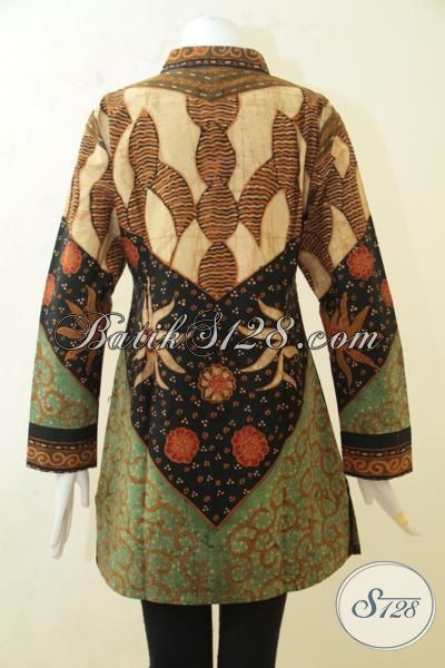 Batik Blus Klasik Halus Kwalitas Istimewa, Pakaian Batik Kerja Wanita Dewasa Proses Tulis Dengan Daleman Full Furing Berkesan Lebih Mewah [BLS3202TF-L]