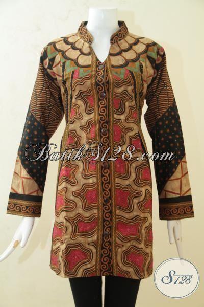 Jual Batik Blus Klasik Proses Tulis, Baju Batik Premium Mewah Dilengkapi Daleman Full Furing, Busana Batik Modis Desain Keren Untuk Kerja [BLS3204TF-L]