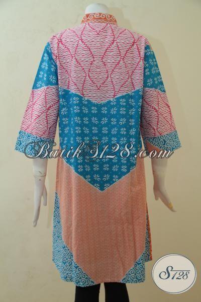 Blus Batik Modern Desain Istimewa Kombinasi Warna Mewah, Baju Batik Santai Masa Kini Proses Print Cocok Untuk Jalan-Jalan, Size XL