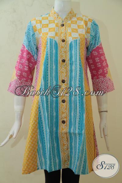 Busana Batik Wanita Masa Kini Tampil Lebih Cantik Maksimal, Blus Batik Kombinasi Warna Keren Proses Print Halus Asli Buatan Solo, Size M – L