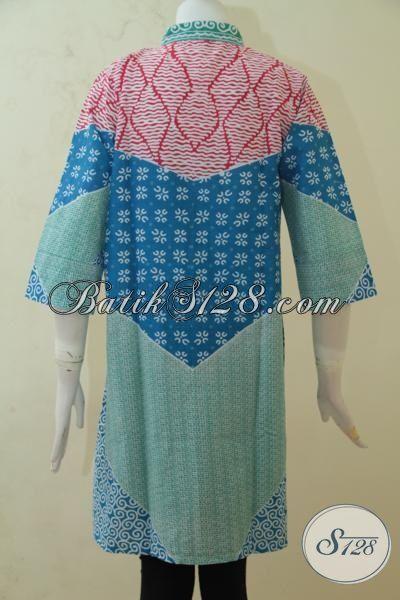 Jual Aneka Batik Blus Bagus Berbahan Halus, Busana Batik Modern Model Mewah Pas Buat Kerja Dan Santai Proses Print, Size M – L