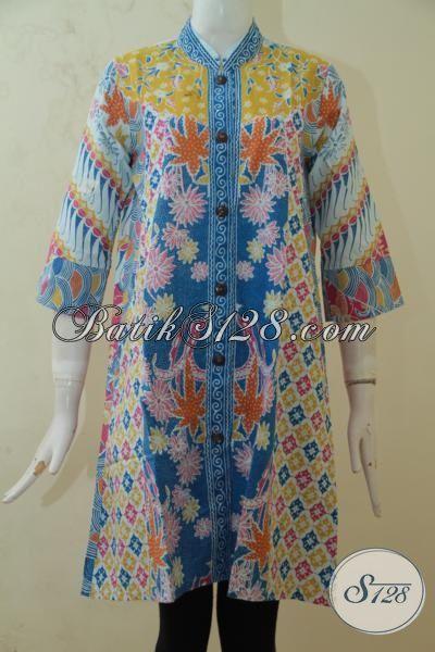 Pakaian Trendy Bahan Batik Halus Proses Printing, Blus Batik Solo Model Paling Up To Date Membuat Cewek Semakin Cantik Mempesona, Size M – XXL