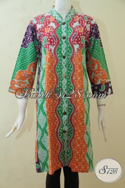 Batik Modis Untuk Cewek, Baju Batik Blus Warna Keren, Pakaian Batik Kerja Maupun Pesta Proses Print Di Jual Online, Size L – XL