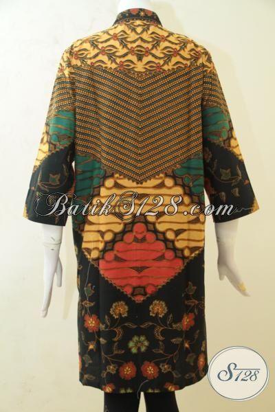 Blus Batik Panjang Model Masa Kini Dengan Motif Klasik Nan Mewah, Batik Printing Kwalitas Halus Harga Terjangkau, Size L