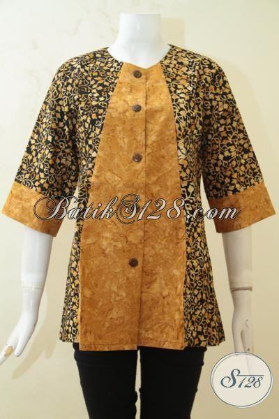 Blus Batik Cap Smoke Hadir Dengan Kombinasi Dua Motif, Pakaian Batik Elegan Cocok Untuk Baju Kerja Perempuan Kantoran, Size M – L – XL