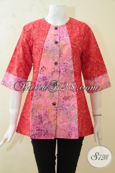 Sedia Baju Batik Blus Modern Buatan Solo, Pakaian Batik Masa Kini Proses Cap Smoke Model Terbaru Yang Membuat Cewek Terlihat Feminim, Size M – L – XL