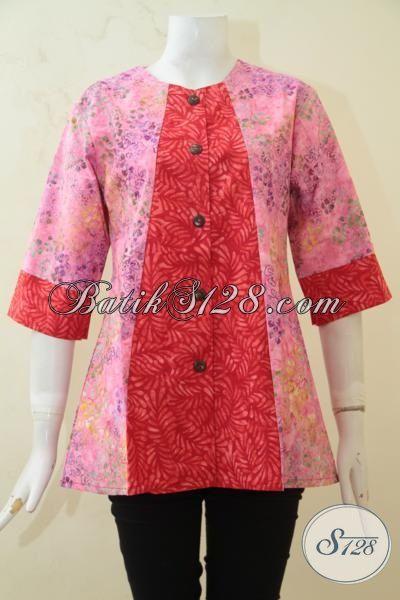 Agen Batik Online Jual Baju Batik Blus Terbaru Kombinasi Dua Motif Proses Cap Smoke, Busana Batik Khas Perempuan Muda Tampil lebih Modis [BLS3227CS-M]