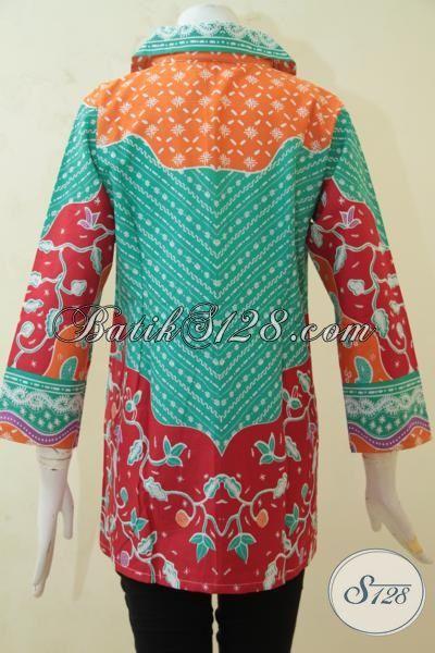 Baju Batik Trendy Wanita Muda Karir Aktif, Batik Blus Printing Solo Desain Mewah Berpadu Warna Yang Keren Cewek Lebih Mempesona [BLS3228P-L]