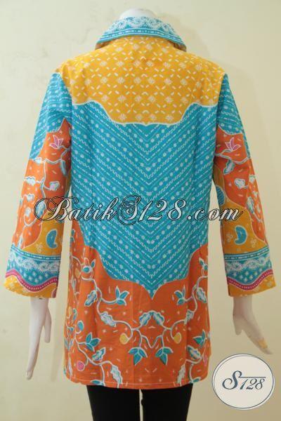 Aneka Blus Batik Formal Kombinasi Aneka Warna Menarik, Baju Batik Modern Cocok Untuk Pesta Dan Tampil Feminim [BLS3232P-XL]