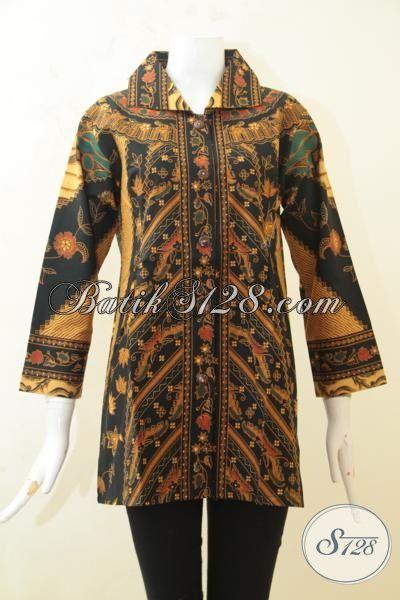 Jual Online Harga Grosir Busana Batik Blus Motif Klasik Proses Printing, Busana Batik Elegan Pas Buat Sergam Kerja Ke Kantor, Size XL