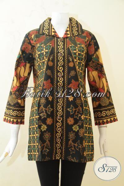 Baju Batik Elegan, Batik Printing Klasik Model Mewah, Batik Baju Kerja Wanita Karir Masa Kini [BLS3238P-M]