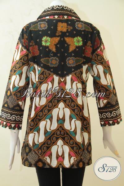 Blus Batik Klasik Proses Printing, Batik Kerja Wanita Dewasa Berbahan Halus Elegan Harga Terjangkau, Size M – XXL