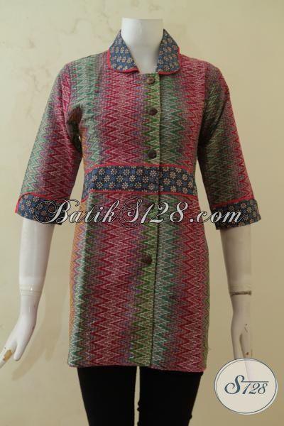 Sedia Pakaian Batik Blus Desain Formal, Baju Kerja Bahan Batik Motif Rangrang Ukuran S, Busana Batik Cap Tulis Kwalitas Halus Produk Solo [BLS3279CT-S]
